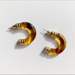 little amber calico half hoops for pierced ears